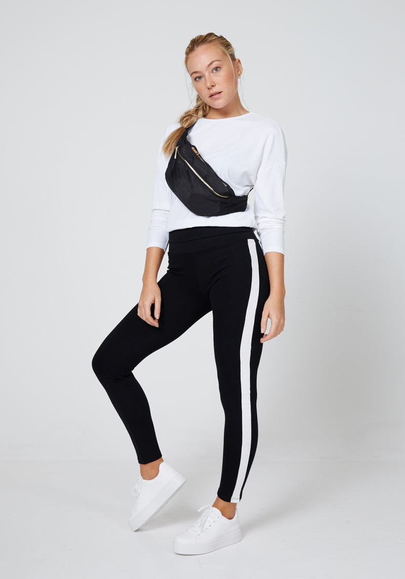 Front Look of Black Striped Side Tape High Waisted Leggings