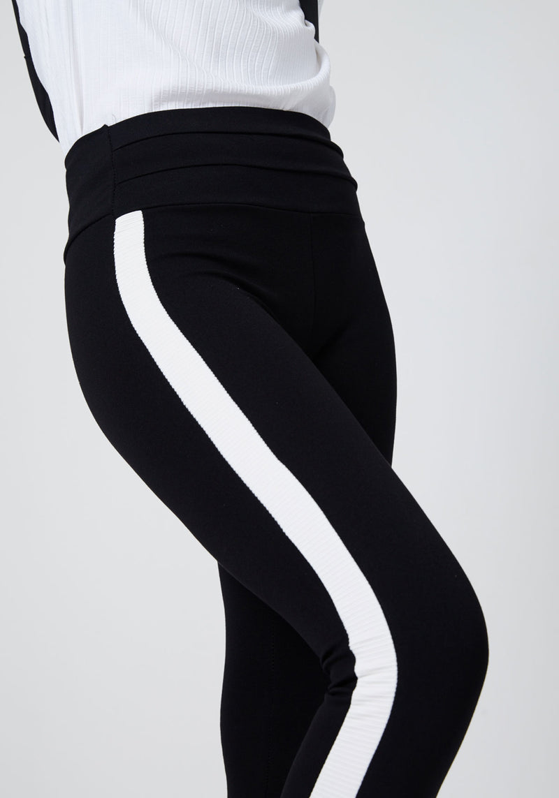 Black Striped Side Tape High Waisted Leggings for Ladies