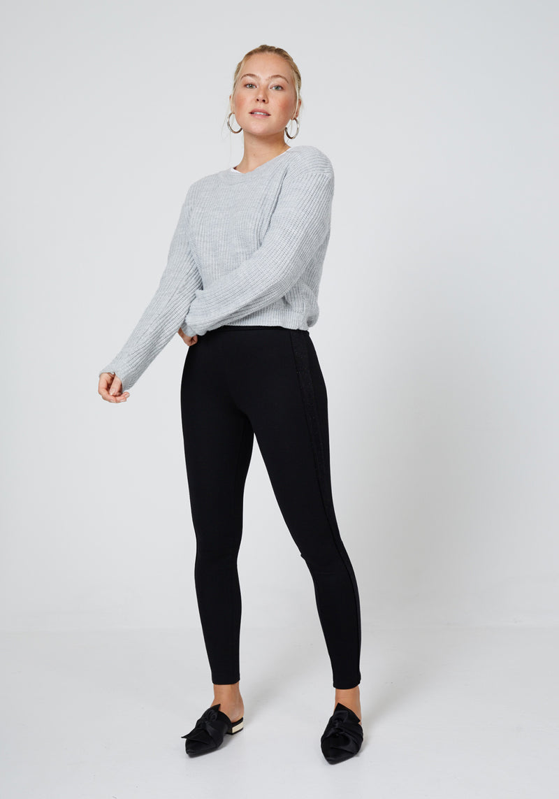 Front Look of Black Glitter Side Panel High Waisted Leggings for Women