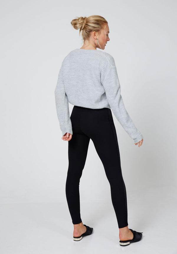 Black Glitter Side Panel High Waisted Leggings