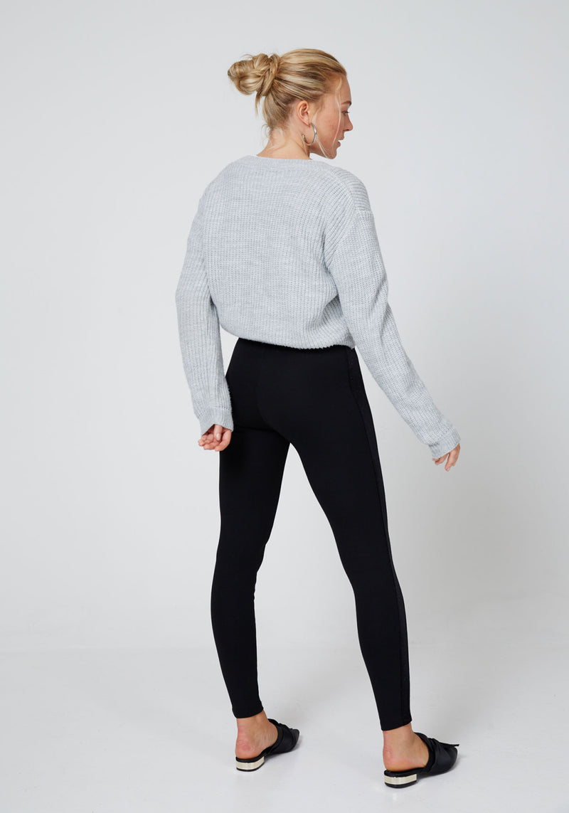 Back Look of Black Glitter Side Panel High Waisted Leggings
