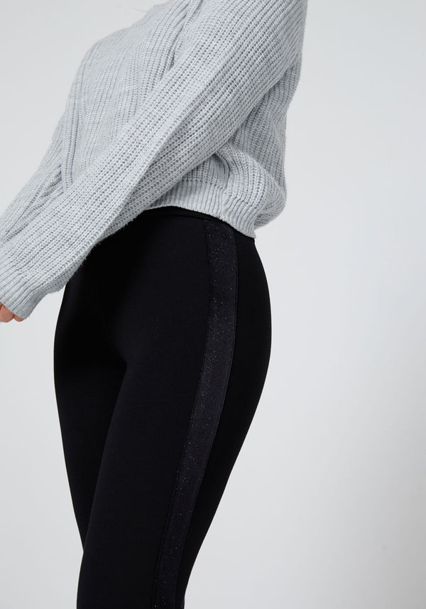 Black Glitter Side Panel High Waisted Leggings for Women