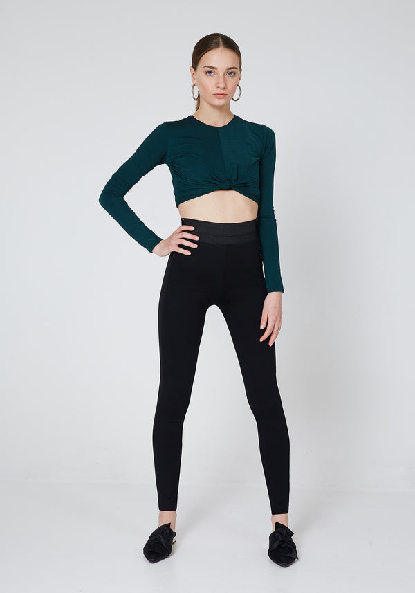 Black Waistband Tape Side Leggings
