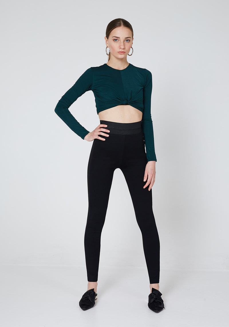 Front Look of Black Waistband Tape Side Leggings