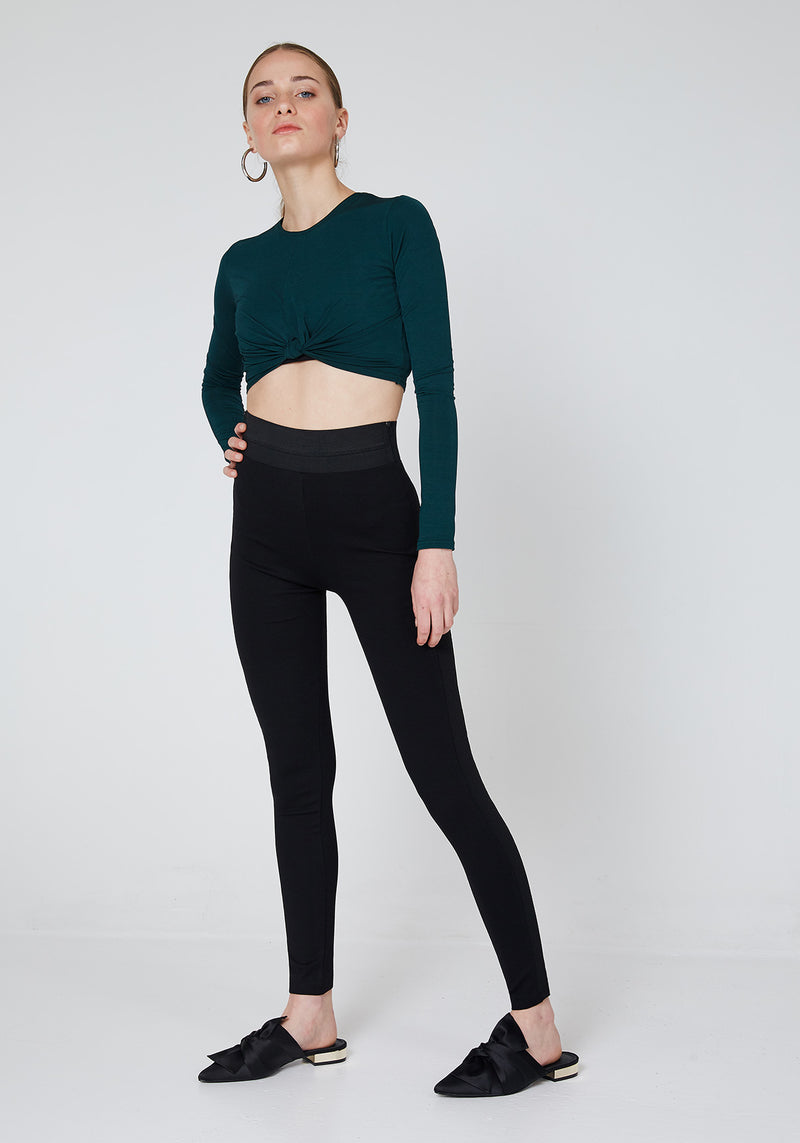 Side Look of Black Waistband Tape Side Leggings