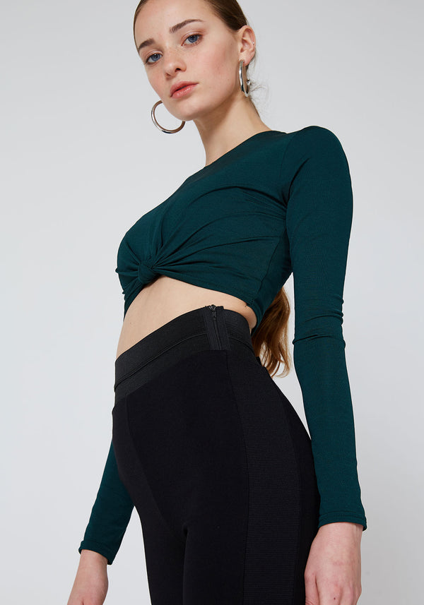 Black Waistband Tape Side Leggings for Women