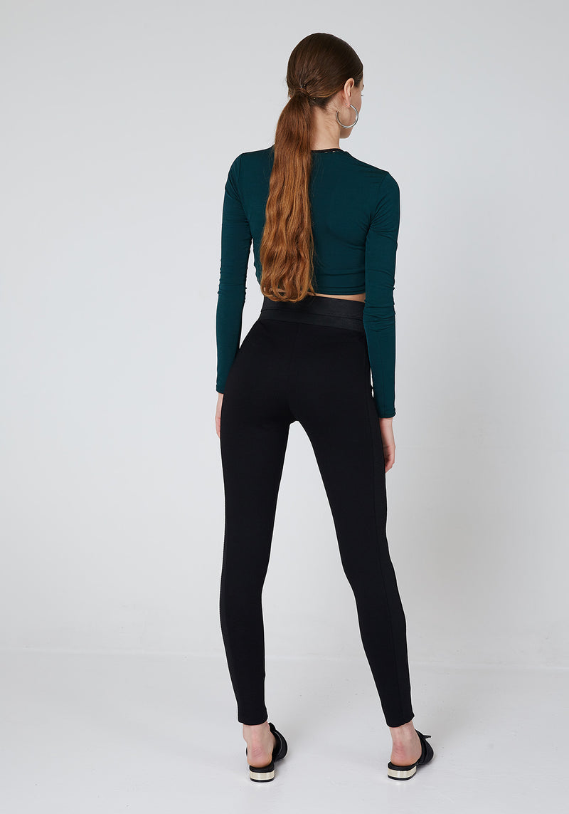 Back Look of Black Waistband Tape Side Leggings