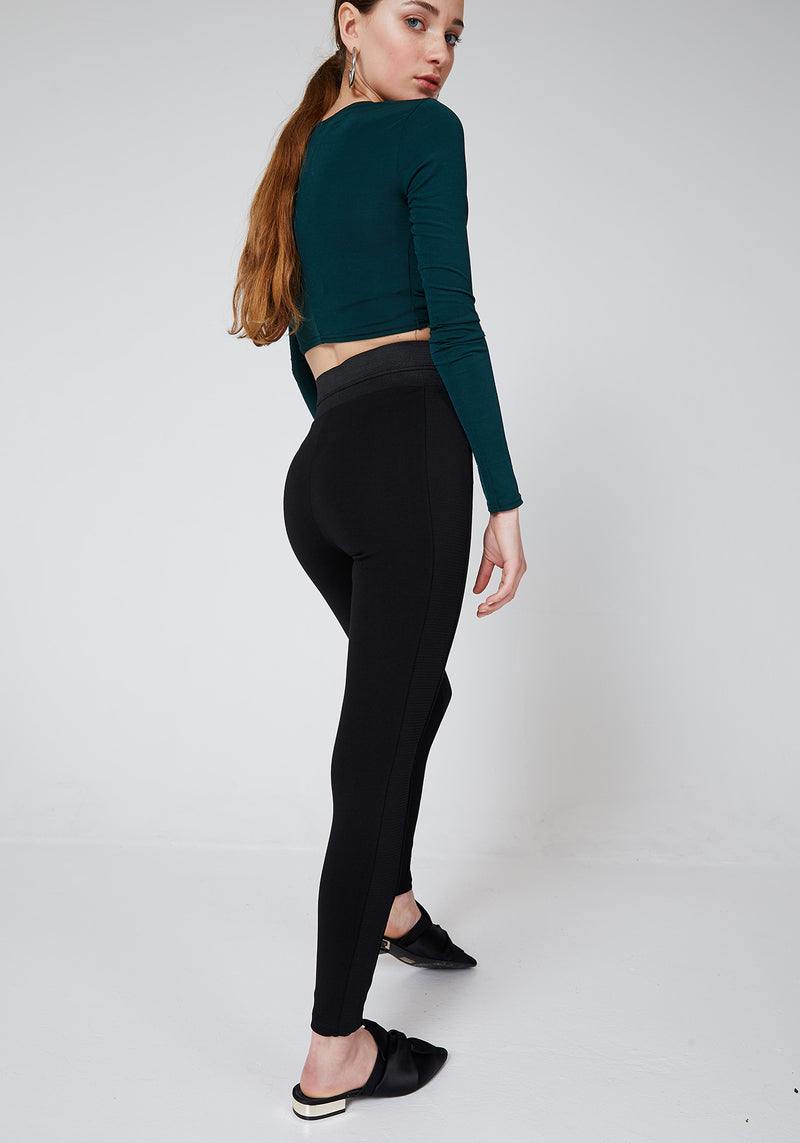 Black Waistband Tape Side Leggings for Ladies