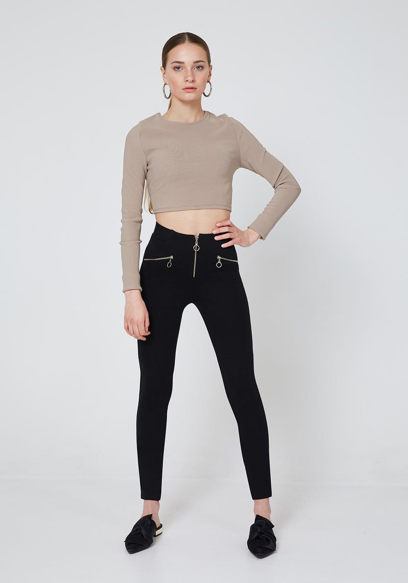Black Double Side and Front Zip detail High Waisted Leggings for Women - Front Look