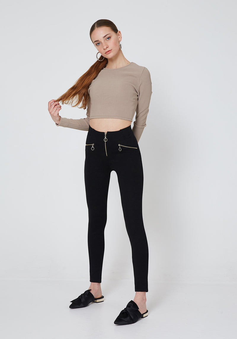 Black Double Side and Front Zip detail High Waisted Leggings for Women - Full Look