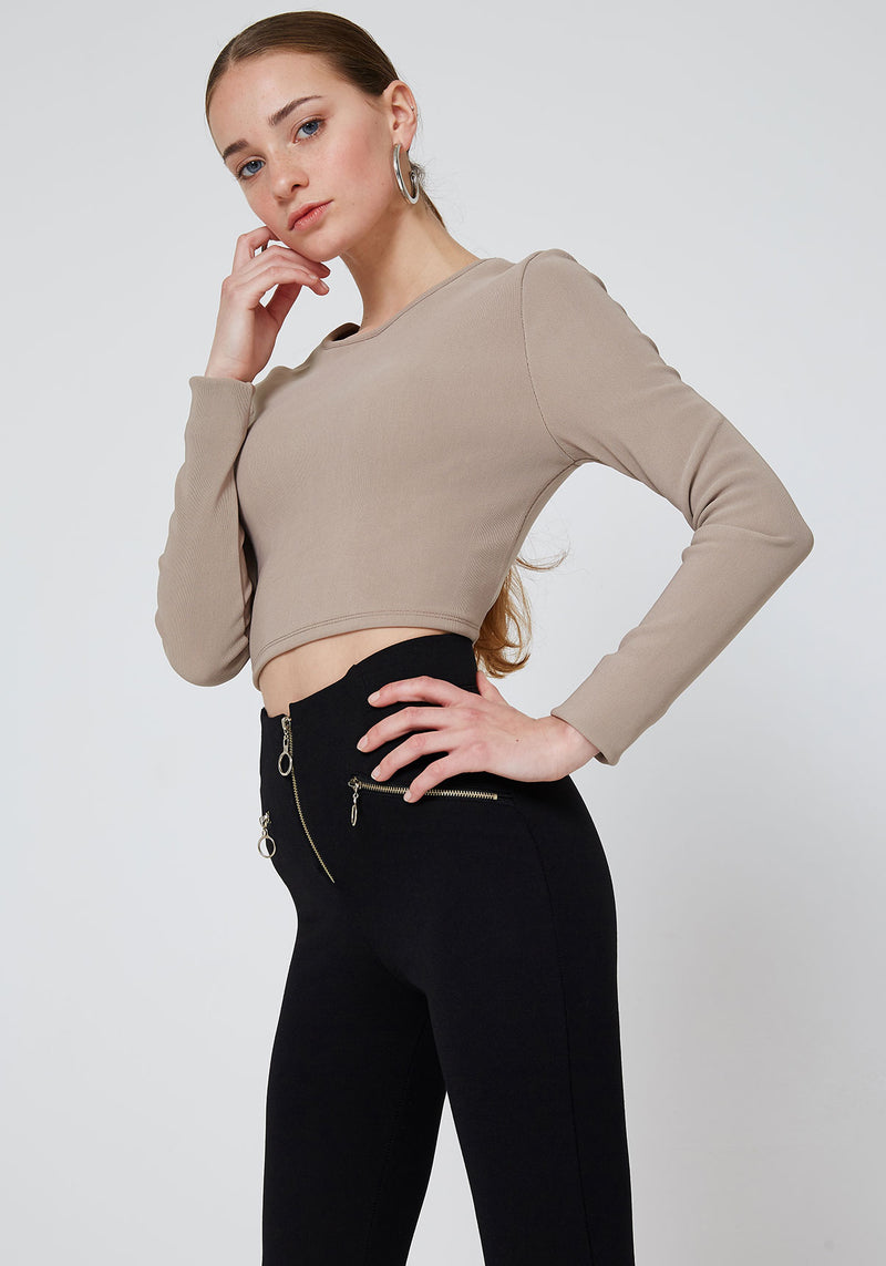 Black Double Side and Front Zip detail High Waisted Leggings for Daily Wear
