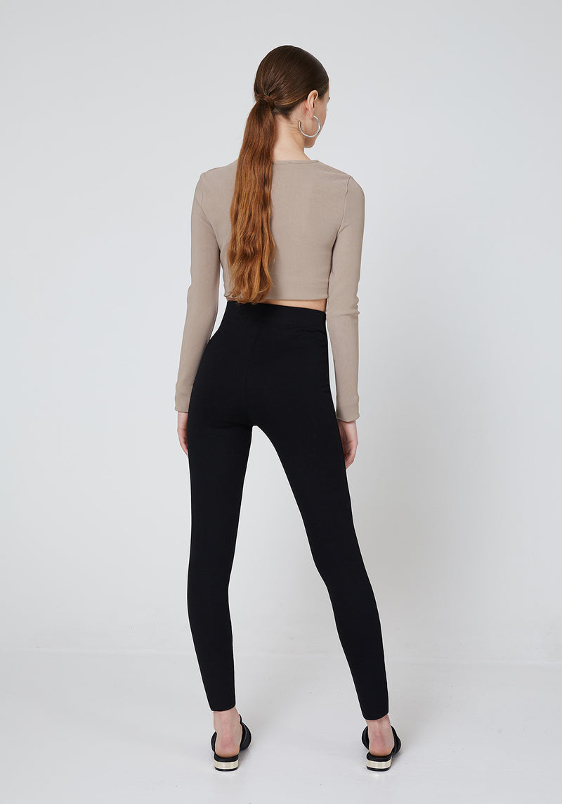 Black Double Side and Front Zip detail High Waisted Leggings for Women - Back Look