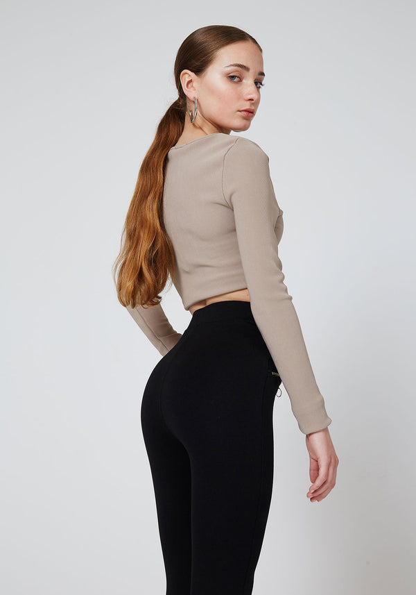 Black Double Side and Front Zip detail High Waisted Leggings for Women - Side Look