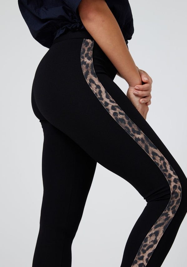 Fasheon Black Leopard Tape Side Leggings for Ladies