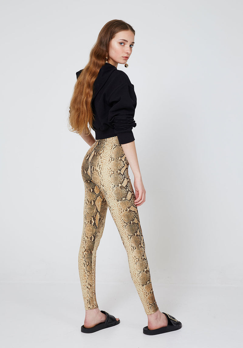 Yellow High Waist Snake Print Leggings from WOL