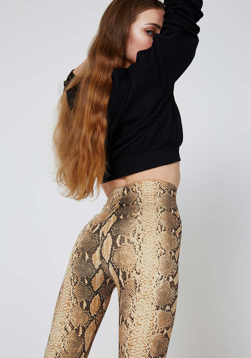Yellow High Waist Snake Print Leggings