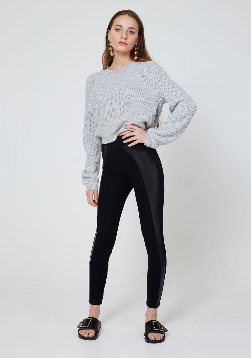 Front Look Black High Waisted Pu Side Panel Leggings