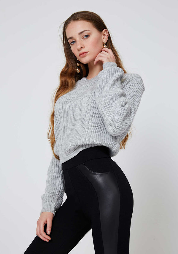 Detail of Black High Waisted Pu Side Panel Leggings
