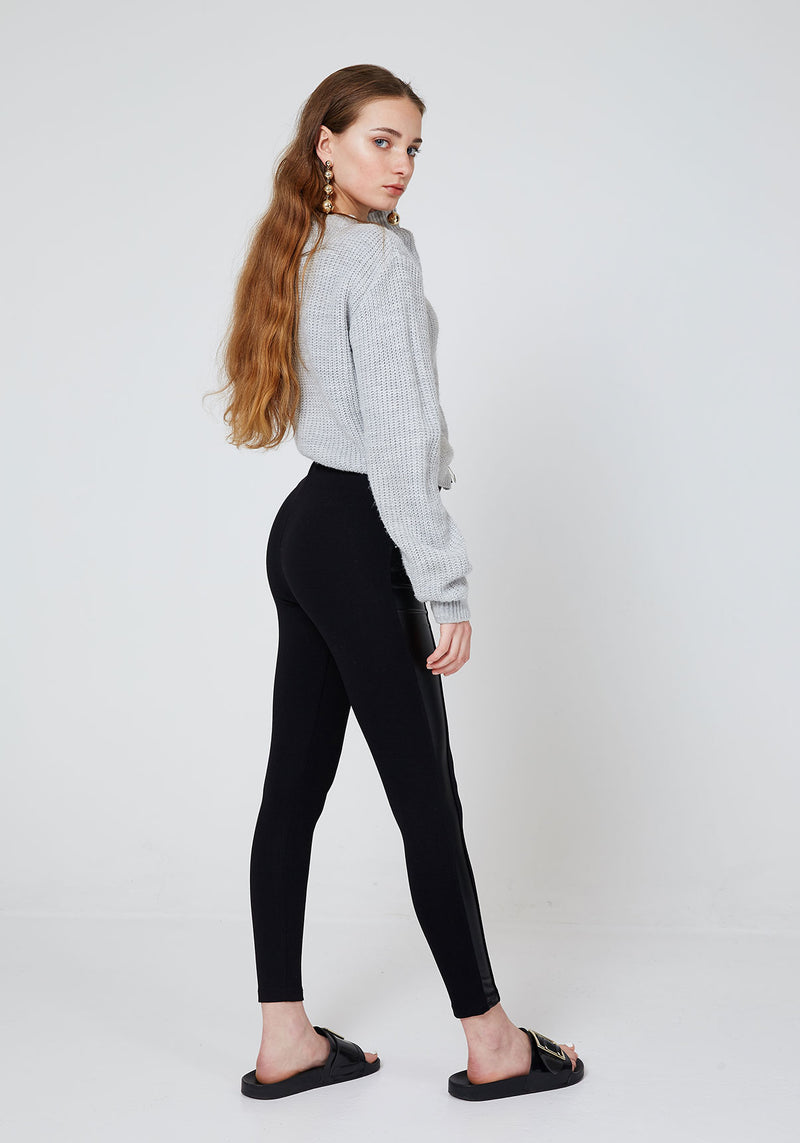 Back Look of Black High Waisted Pu Side Panel Leggings