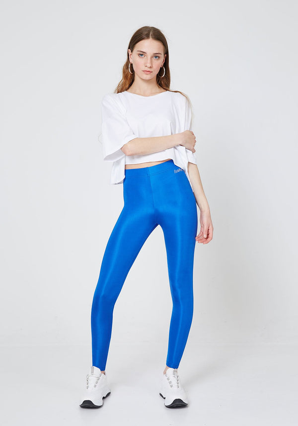 Front Look of Blue Shiny High Waisted Stretchy Slogan Leggings