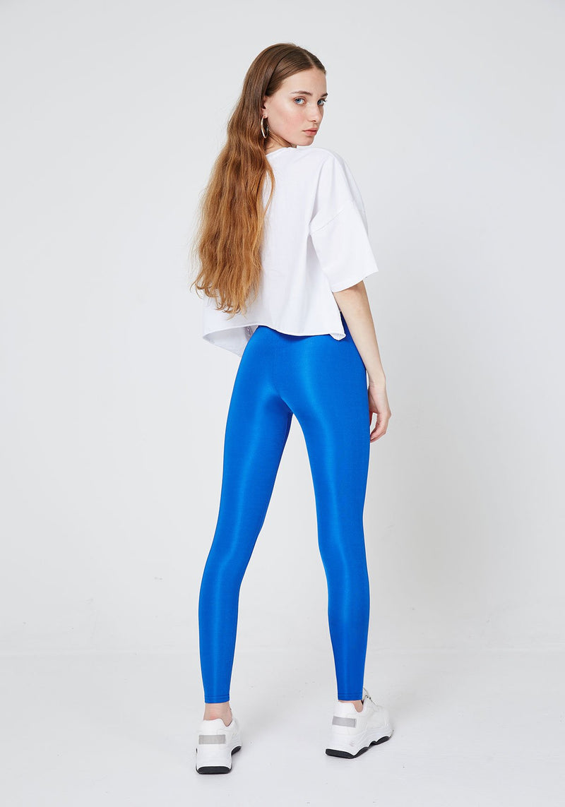 2 Pack - Blue Shiny High Waisted Stretchy Slogan Leggings