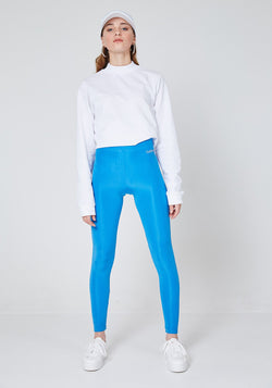 Front Look of Blue Shiny High Waisted Slogan Leggings for Women