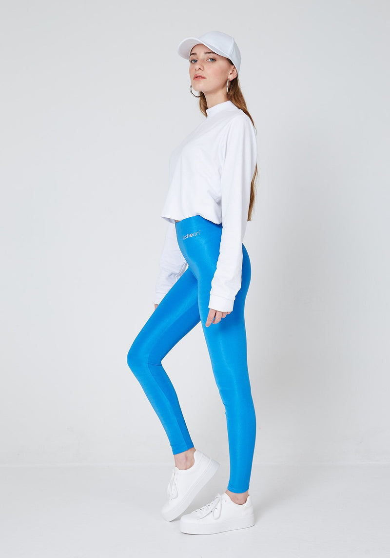 Full Look of Blue Shiny High Waisted Slogan Leggings