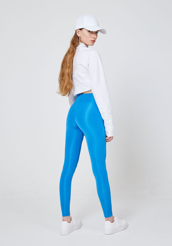 Back Look of Blue Shiny High Waisted Slogan Leggings