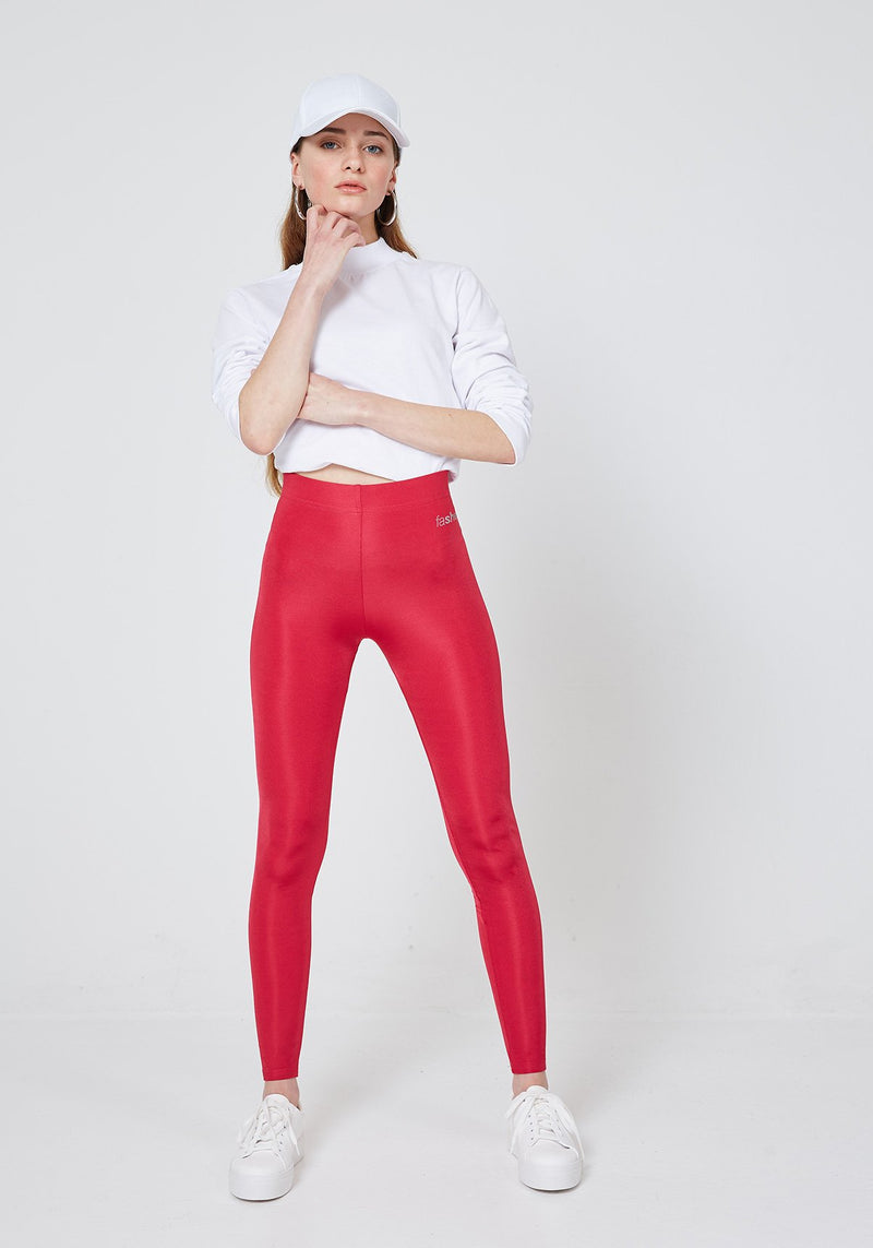 Front Look of Red Shiny High Waisted Slogan Leggings for Womens