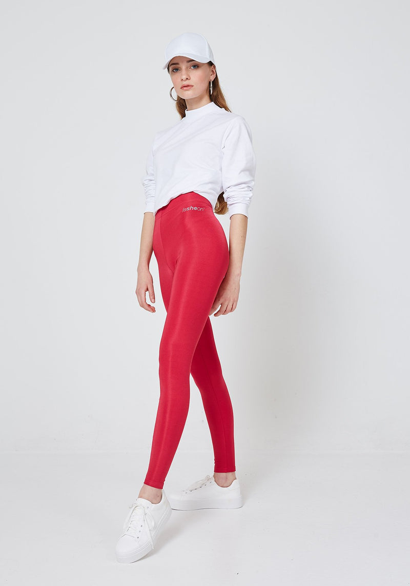 Side Look of Red Shiny High Waisted Slogan Leggings for Women