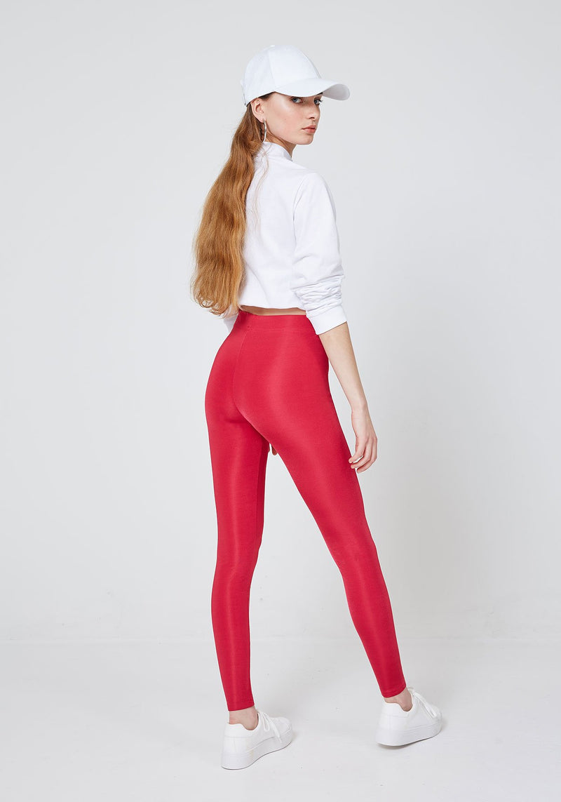 Back Look of Red Shiny Slogan Yoga Leggings