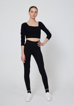 Front Look of Black Waist Band Back Slogan Leggings