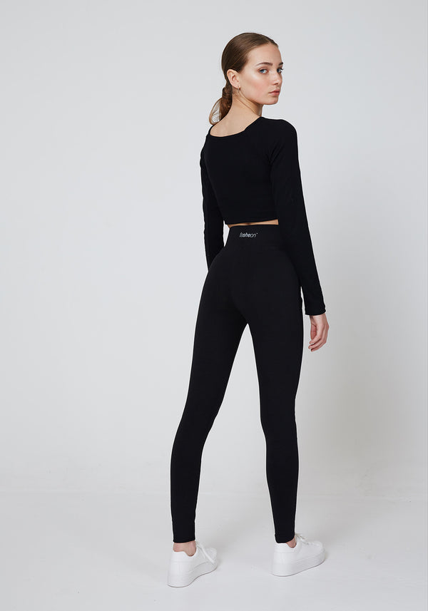 Back Look of Black Waistband Back Slogan Leggings