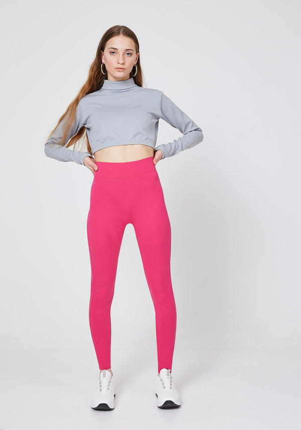 Front Look of Pink Classic High Waisted Slogan Leggings for Women