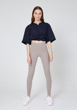 Front Look of Brown Basic High Waisted Slogan Leggings