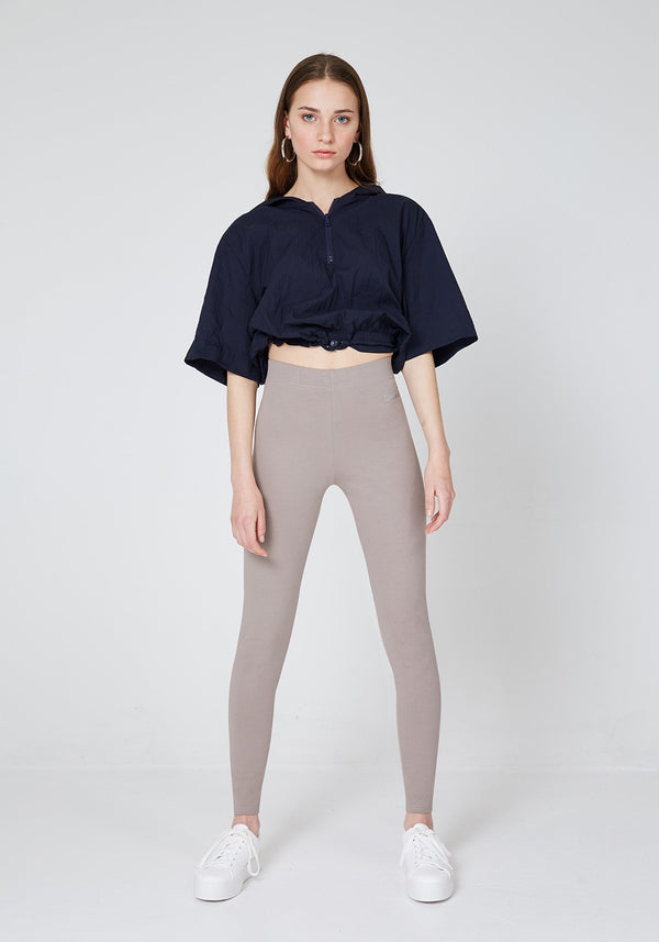 fasheoen - Brown Basic High Waisted Slogan Leggings