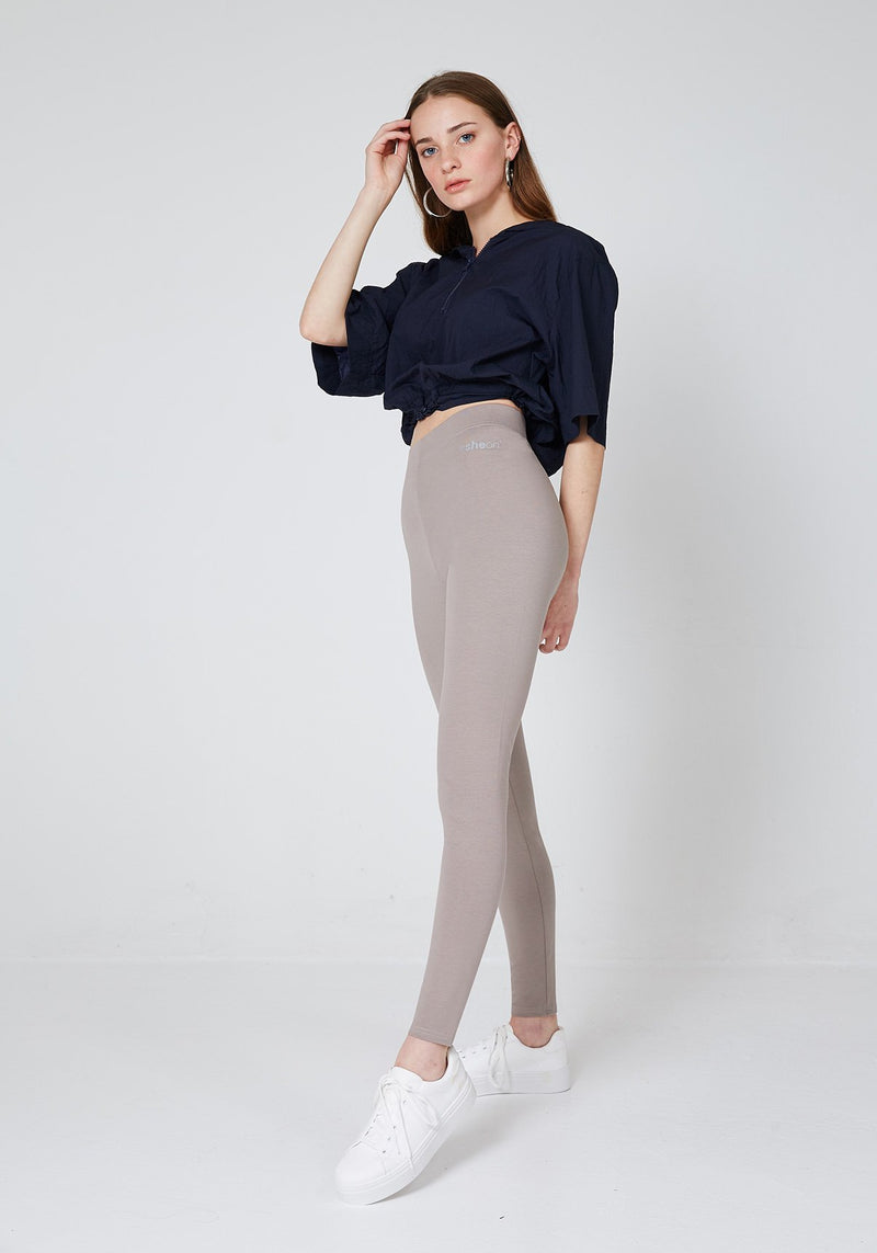 Side Look of Brown Basic High Waisted Slogan Leggings