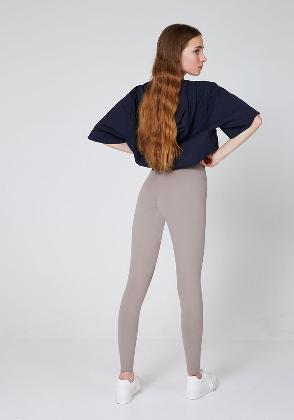 Back Look of Brown Basic High Waisted Slogan Leggings