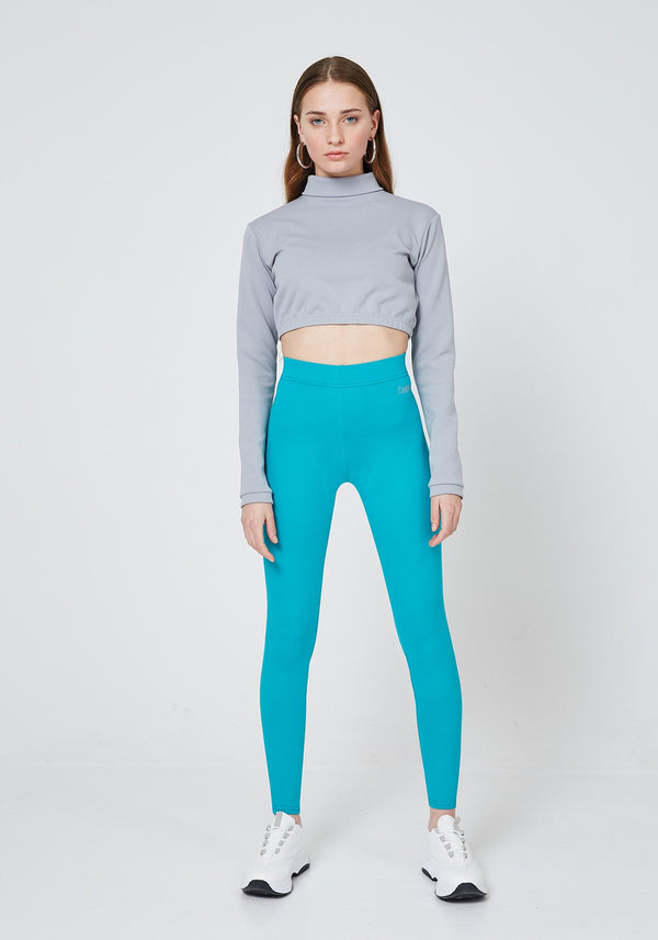 Front Look of Blue Classic High Waist Leggings with Seam Detail