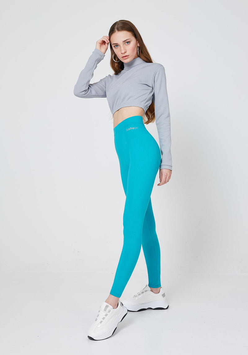 Side Look of Blue Classic High Waisted Leggings with Seam Detail