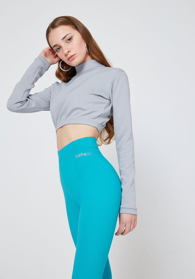Detail of Blue Classic High Waisted Leggings with Seam Detail
