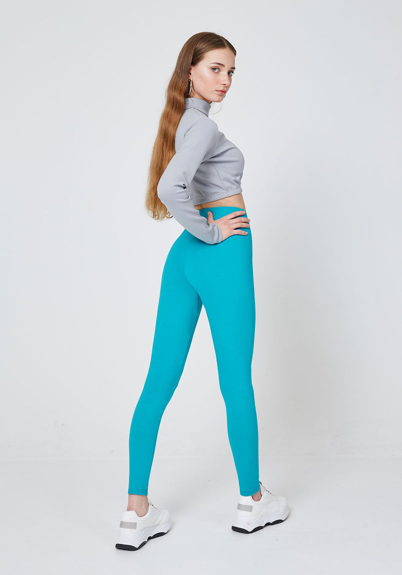 Back Look of Blue Classic High Waisted Leggings with Seam Detail