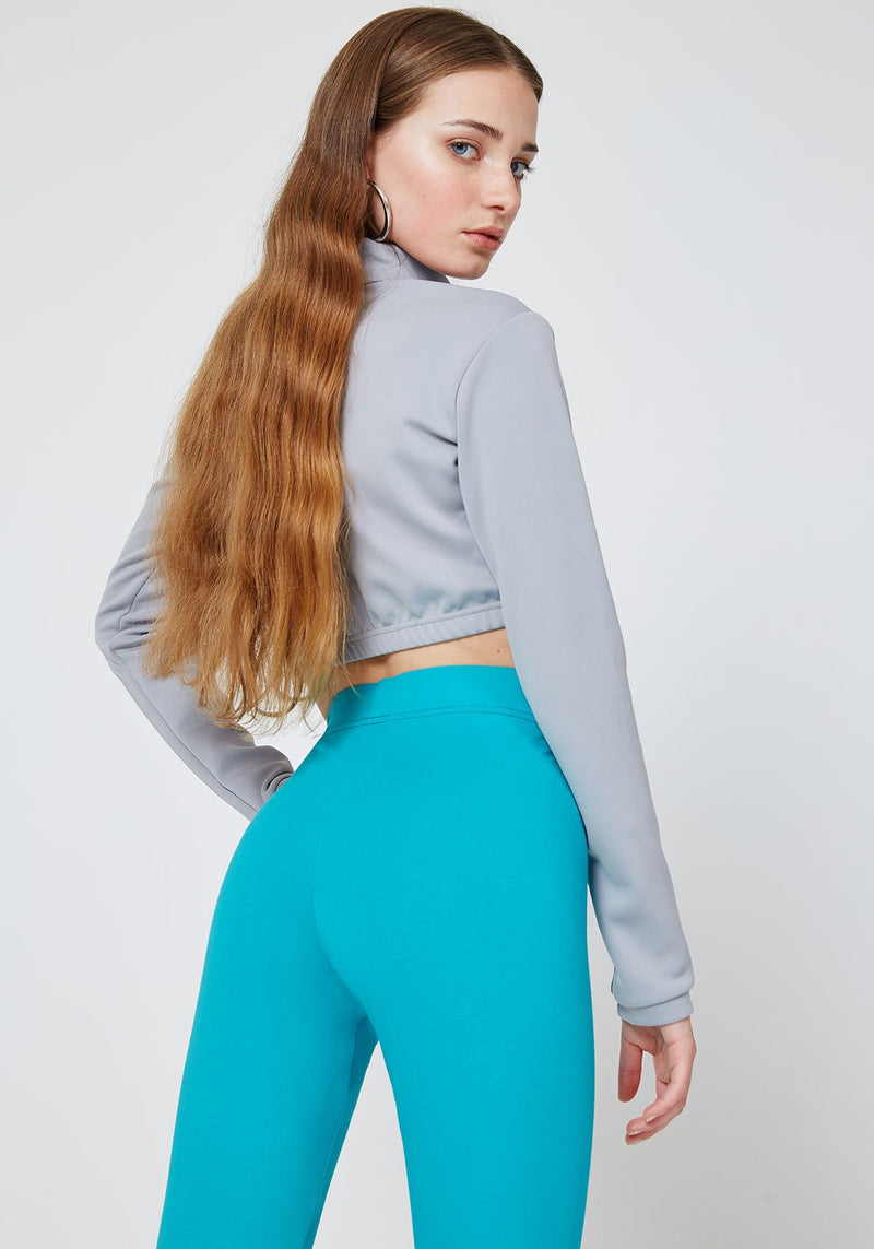 Bright Blue Classic High Waisted Slogan Leggings with Seam Detail