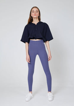 Front Look of Purple Basic High Waisted Slogan Leggings