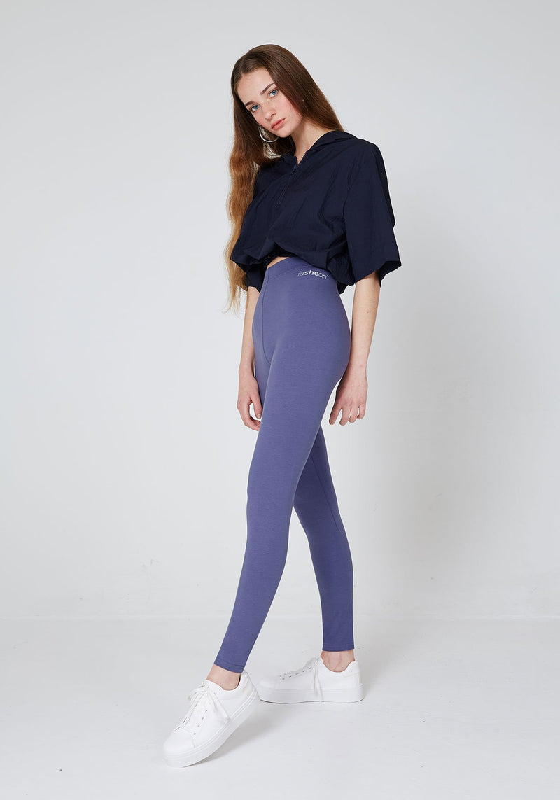 Side Look of Purple Basic High Waisted Slogan Leggings