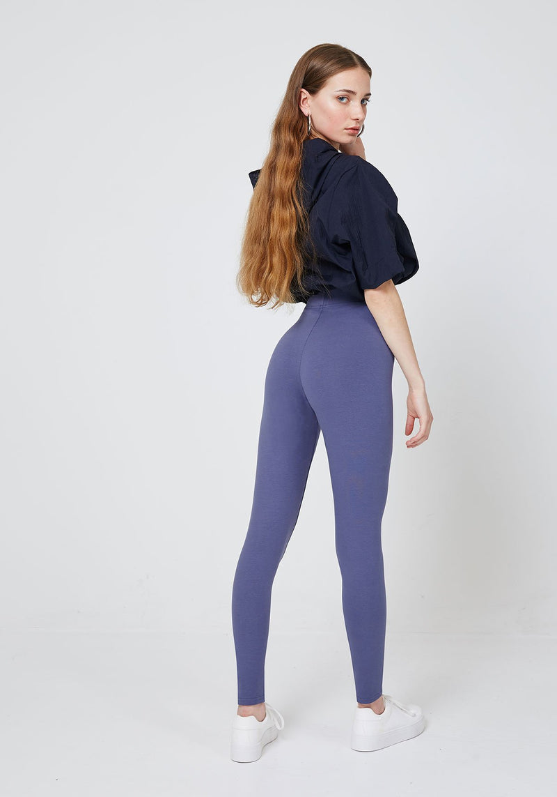 Back Look of Purple Basic High Waisted Slogan Leggings
