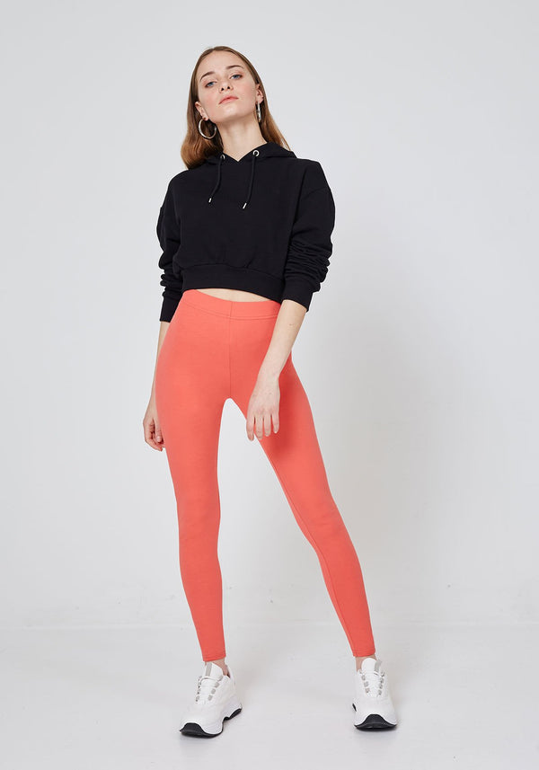 Front Look of Orange Classic High Waisted Slogan Leggings