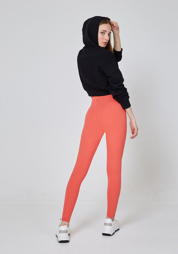 Back Look of Orange Classic High Waisted Slogan Leggings