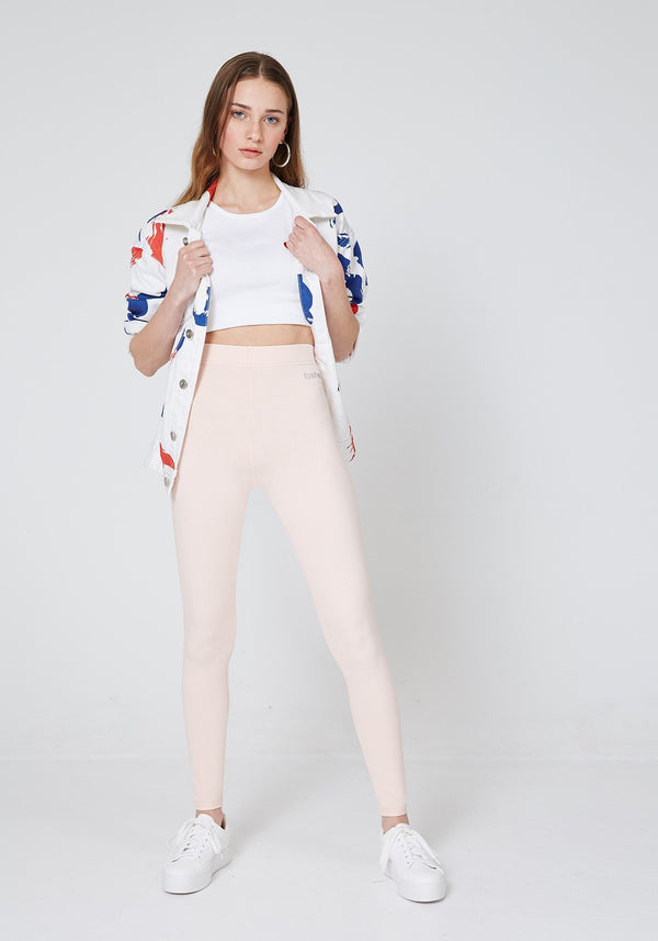 Front Look of Nude Basic High Waisted Slogan Leggings for Women