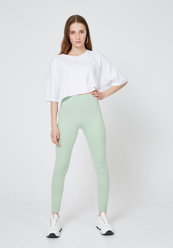Front Look of Green Classic High Waisted Slogan Leggings for Women
